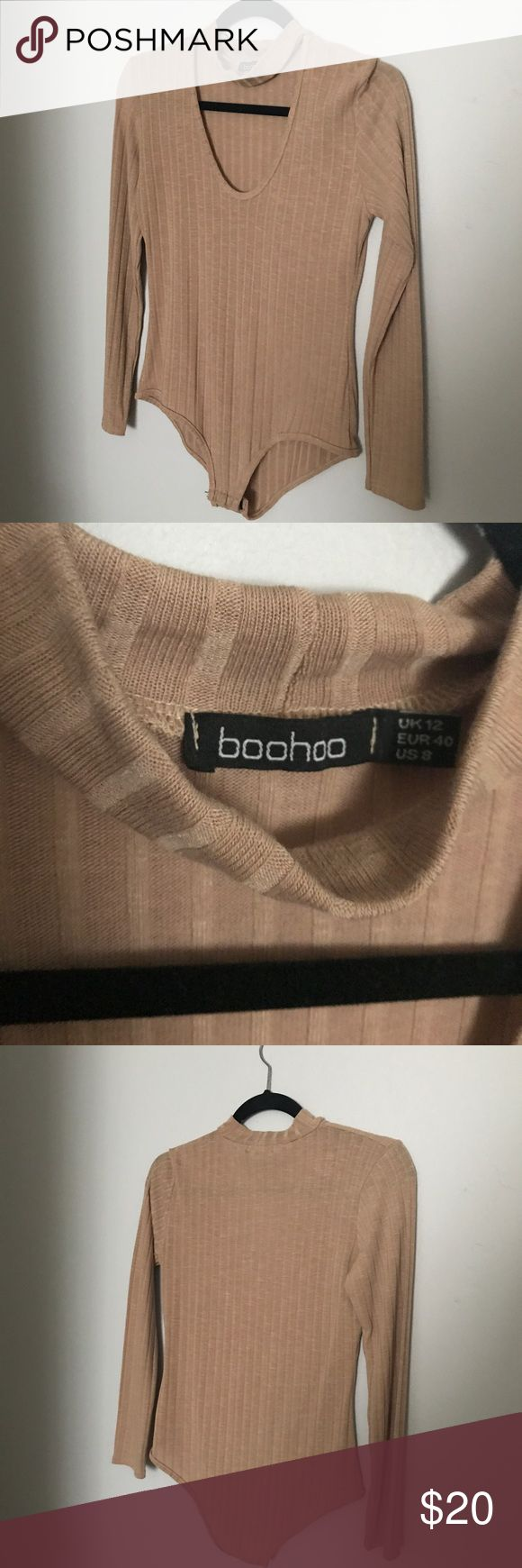 Boohoo Camel Choker Bodysuit Brand new without tags! Ribbed camel/nude colored Bodysuit from Boohoo with Choker neckline (long sleeve) size: 8 (fits like a Medium!) Boohoo Tops