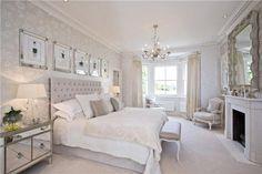 Light, calm neutrals, white, gray, refined, glamour bedroom