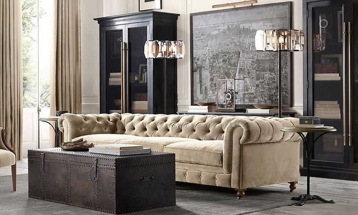 Rooms | Restoration Hardware - love the Kensington sofa & map of lower Manhattan with picture light.