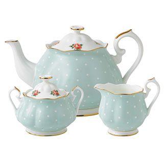 Royal Albert Polka Rose 3 Piece Set- Teapot, Covered Sugar and Creamer