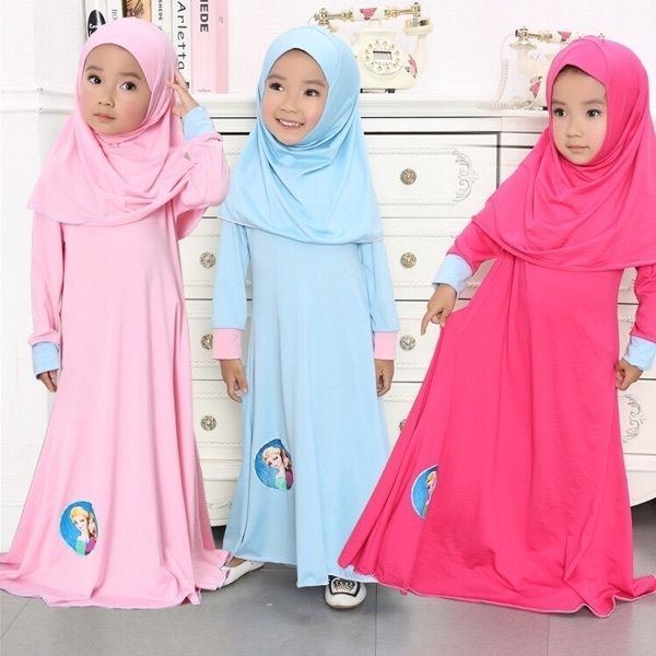 Muslim Kids Long Sleeve Abaya Jilbab Sets Islamic Girls Traditional Kaftan Dress