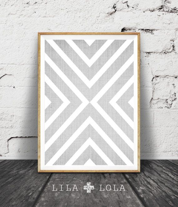 Geometric Print, Grey and White Decor, Cross Wall Art, Modern Minimal, Scandinavian Mid Century, Printable Instant Download,
