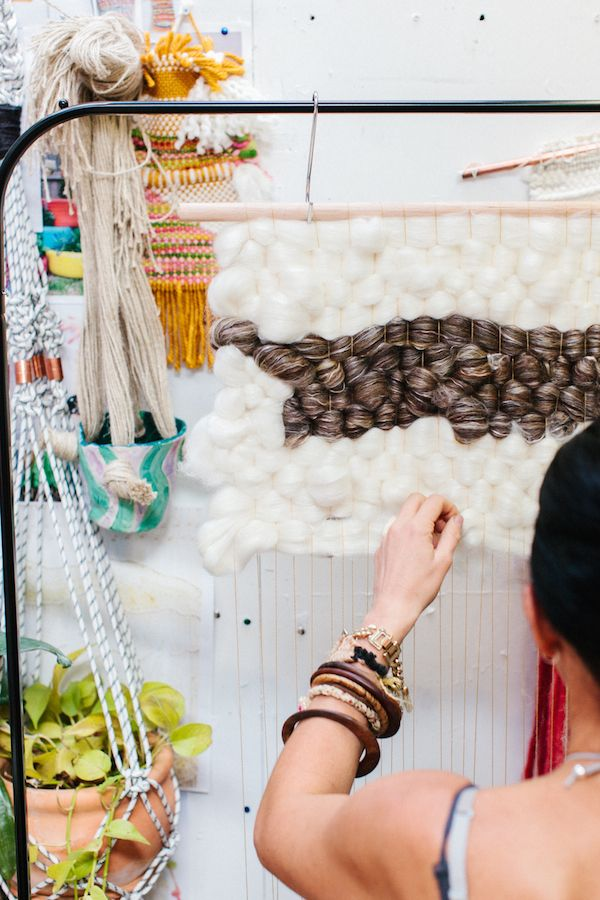 Beautiful woven tapestries by textile artist Natalie Miller... at work in her studio. Photo – Rachel Kara for The Design Files.: