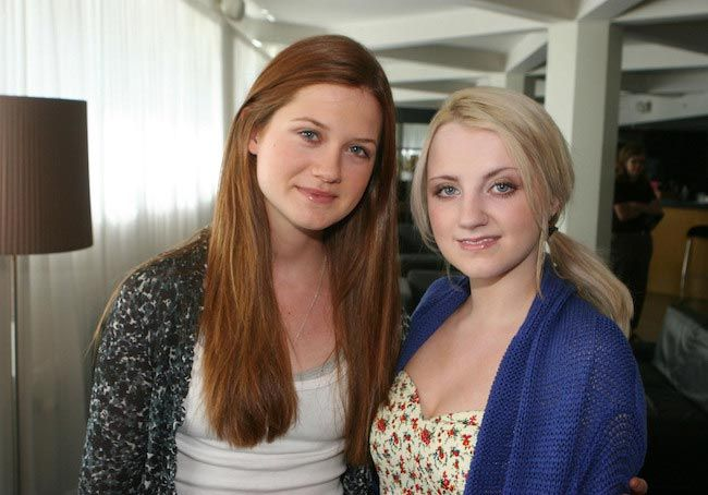 Harry Potter actresses Evanna Lynch (Right) and Bonnie Wright...
