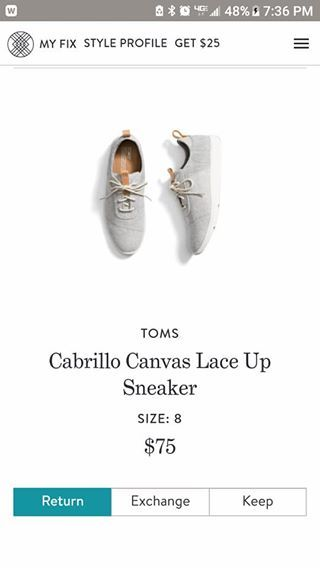 45d64578fd6 Toms Cabrillo Canvas Lace Up Sneaker Stitch Fix Spring 2018 Your first  20  styling fee is waived when you sign up using this referral link!  )
