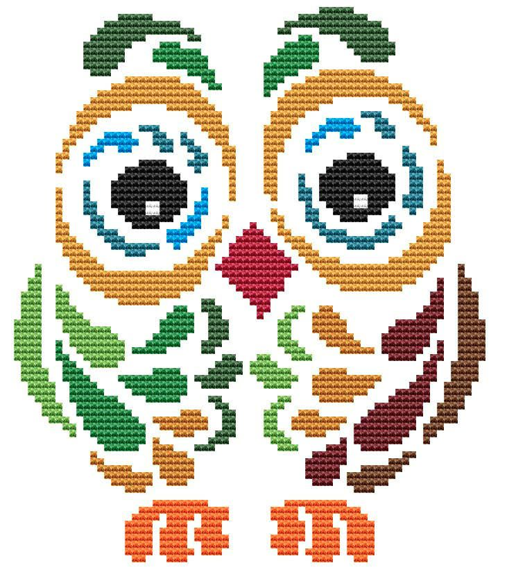 Cross Stitch Craze: Owl Cross Stitch Tribal Art Deco