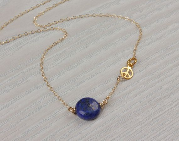 Peace sign necklace Lapis lazuli necklace peace by OlizzJewelry, $24.99