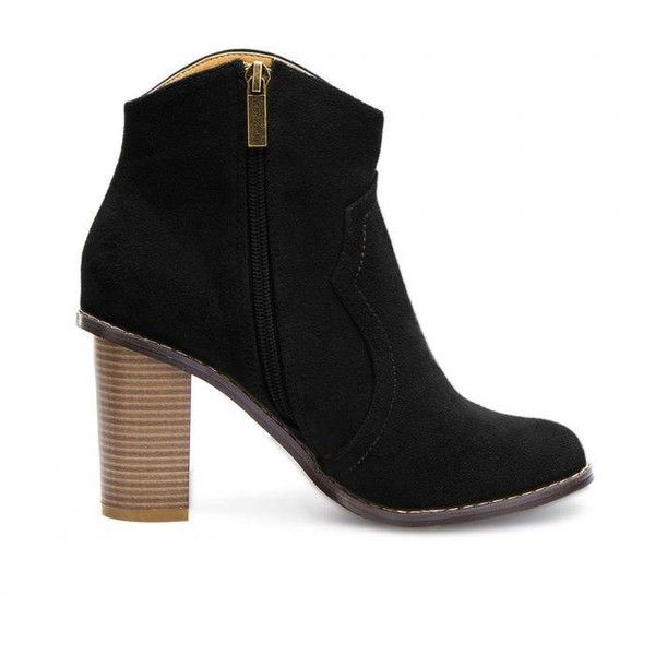 Yoins Yoins Heeled Suede Ankle Boots found on Polyvore featuring shoes, boots, ankle booties, ankle boots, booties, yoins, black, black suede bootie, faux suede booties and suede bootie