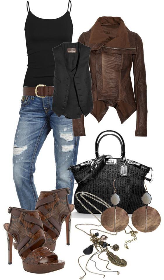 leather jacket, vest, tank, belt, distressed jeans, earrings, necklace