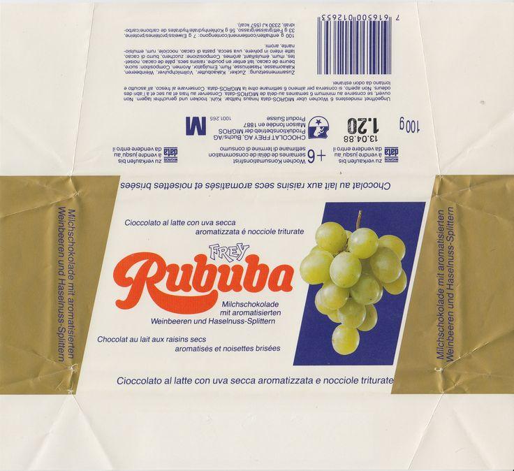 Rububa Milchschokolade mit Weinbeeren und Haselnuss-Splittern 1987