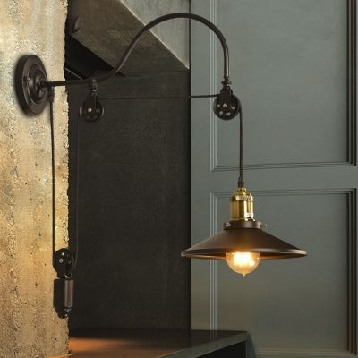 Farmhouse 1 Light Adjustable Wall Light with Metal Shade