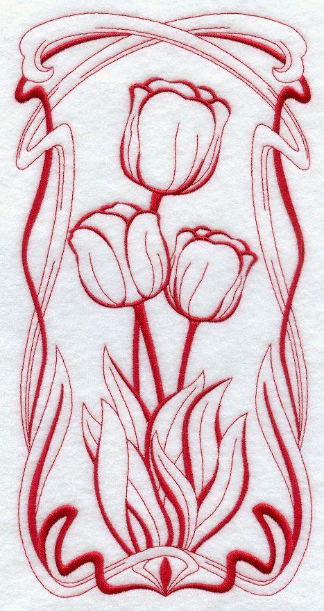 Art Nouveau Tulips (Redwork)