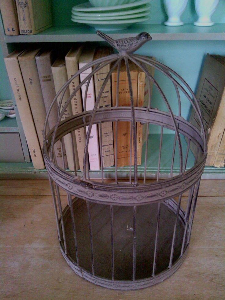 Cage à oiseaux - Déco - Métal - Poncée - Vendu