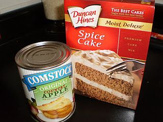 Mix cake mix and apple pie filling together until well blended. Bake at 350 degrees for approximately 30 minutes, or until toothpick inserted in middle comes out clean.