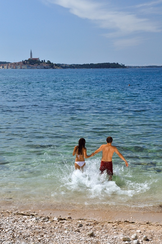 Total length of beaches is 1.000 m (pebbly, rocky and concrete beaches) @ Campsite Amarin in Rovinj, Croatia!