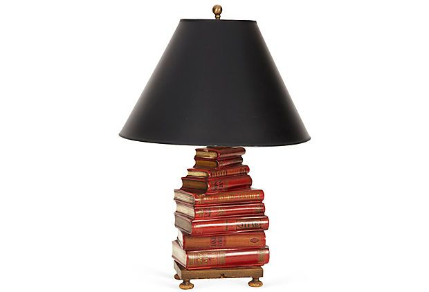 I want this so much, I've almost convinced myself that $589 is perfectly reasonable to spend on a lamp......English Books  Lamp on OneKingsLane.comLibraries Room, Lamps English Book, Interesting Products, Teachers Desks, Montaigne Christine, 1St Floors, Care Libraries, Book Lamps, Bookstores Cafes