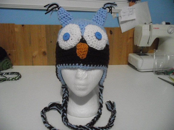 AN OWL HAT WE MAKE...ANY SIZE AND COLOR CAN BE DONE...