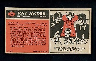1965 Topps Football # 55 Ray Jacobs cond SINGLE PRINT Denver Broncos