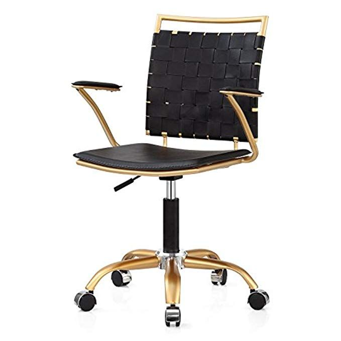 M356 Gold Finish Modern Office Chair Swivels And Height