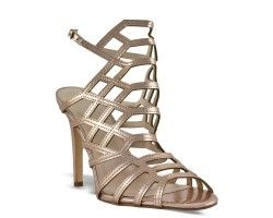 33€ Sandal pump slingback whit decorative geometric structure, champagne color. Visit our website now!