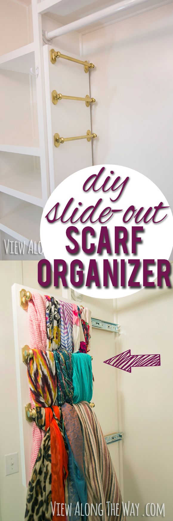 I am SO doing this, in my master and front closets! Every girl needs this! Brilliant way to hang your scarves - it slides out!