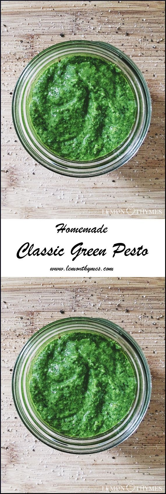 This Classic Green Pesto recipe only takes about 10 minutes to make and requires 7 simple ingredients: basil, lemon, garlic, olive oil, pine nuts, Parmesan Reggiano, and sea salt. SOOO GOOD | lemonthymes.com
