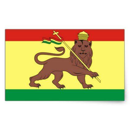 Old Ethiopian Flag with Lion of Judah Rectangular Sticker - sticker stickers custom unique cool diy