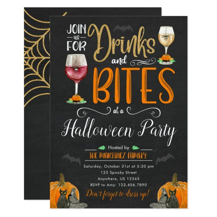 Halloween Costume Party Invitation 2020 Drinks and BitesHalloween Costume Party Invitation | Zazzle.in