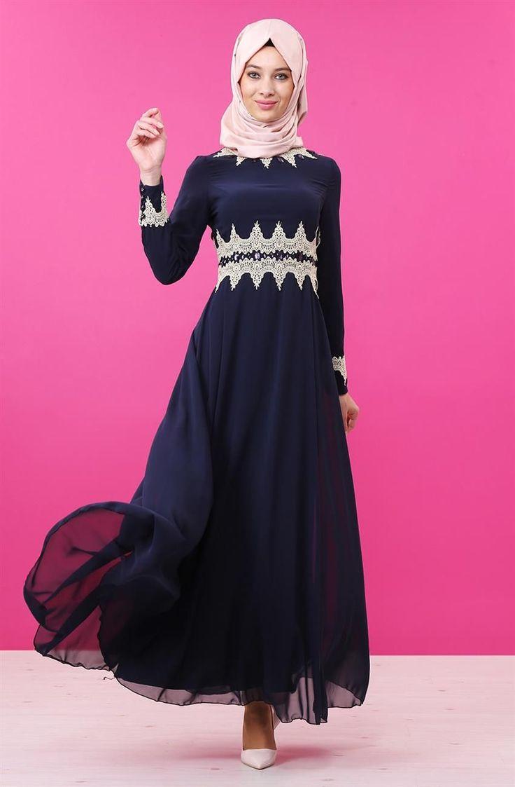 Nursima Güpür Detaylı Abiye Elbise-Lacivert 8009-17