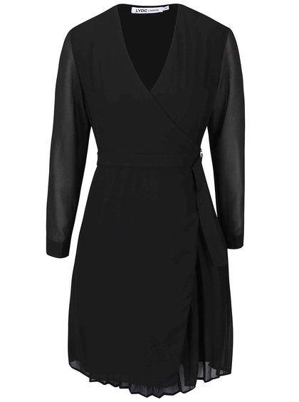 Černé zavinovací šaty s dlouhým rukávem LYDC