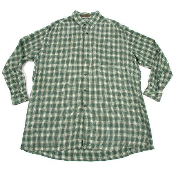 ワイズフォーメンY's for men チェック長袖コットンシャツ グリーンベージュM位