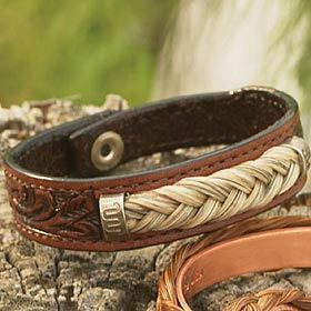 leather and horse hair bracelet