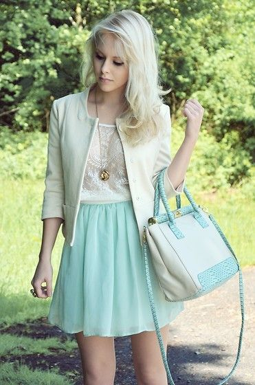 Baby blue skirt, knit white top, khaki blazer