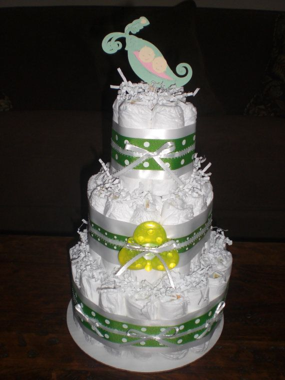 Pea Pod Diaper Cake  or Twins Diaper Cake by bearbottomdiapercakes