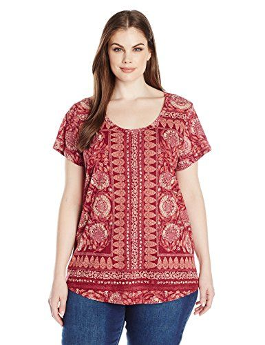 Lucky Brand Women's Plus Size Border Floral Tee, Red Mult-$39.50
