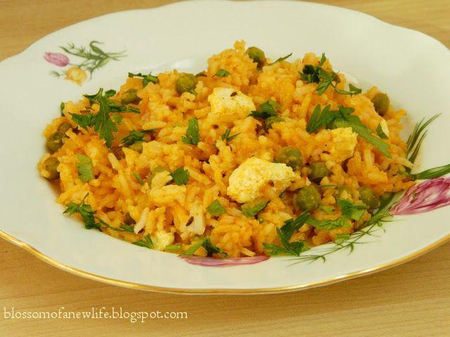 Jeera Rice with Paneer and Peas Orez Indian cu Chimen, Panir şi Mazăre