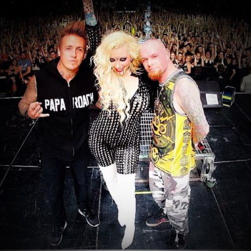 Ivan Moody with Maria Brink, and Jacoby Shaddix. #five finger death punch #in this moment #papa roach