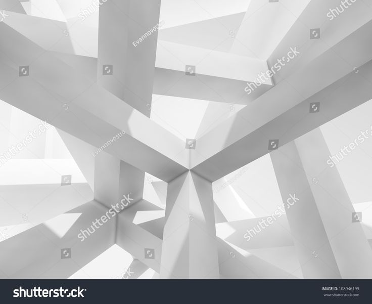 3d abstract Architecture background. Internal space of a modern chaotic braced construction
