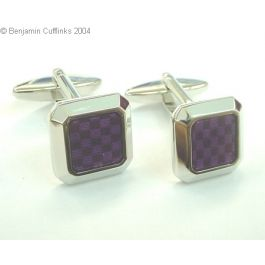 Purple Chess Board Cufflinks - Modern square based rhodium plated cufflinks with a shiny finish featuring a chess board design in purple.