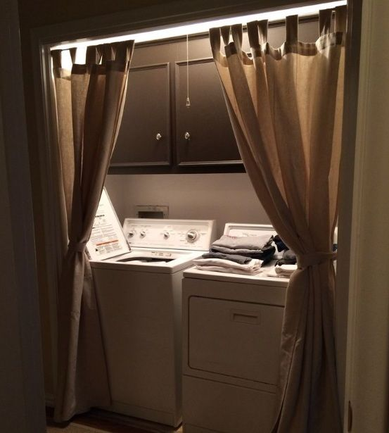 Brown laundry room curtains ideas with wooden rods