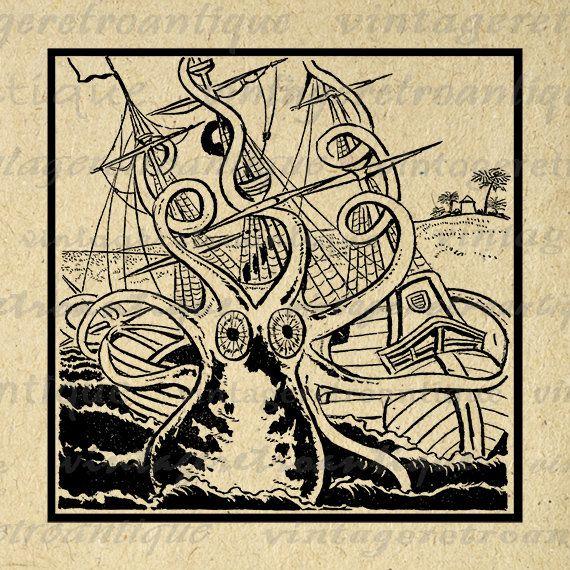Octopus Image Digital Printable Kraken Attacking Ship Download