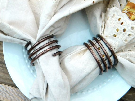 Napkin Ring, Napkin Band, Napkin Holder, Napkin Rings, Napking Ring Set, Dining, Copper Napkin Ring, Tabletop Accessories, Set of 4