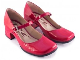 Ref: 620 Sapato Boneca Retrô Verniz Vermelho