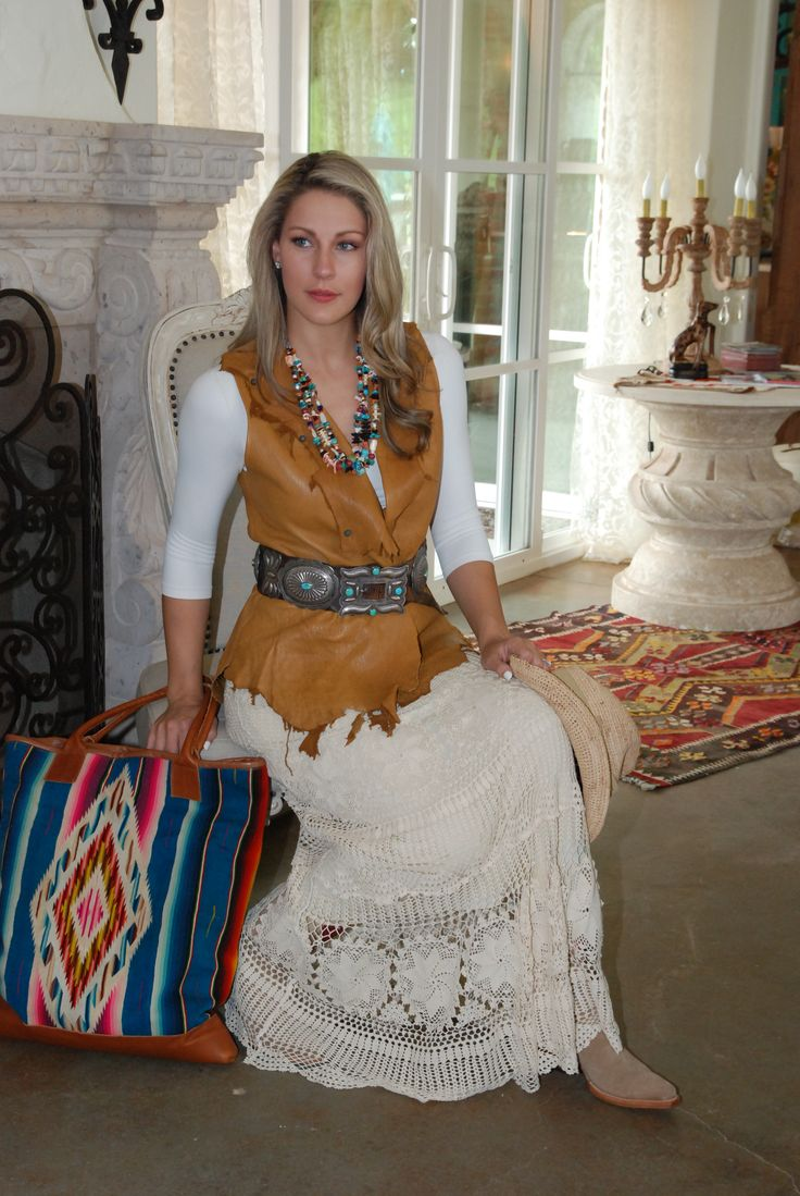 Supple deerskin vest with lace long skirt.  Vintage concho belt all at www.rawhideranchco.com