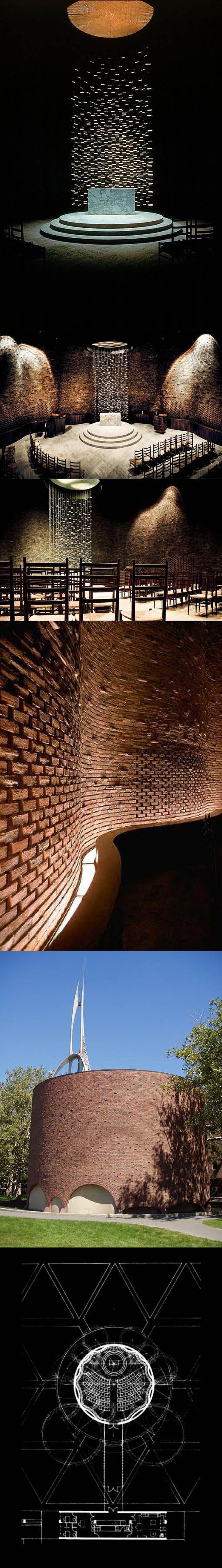 1953-1955 Eero Saarinen - Kresge Chapel at MIT / Cambridge USA / Finland / brick marble / Harry Bertoia