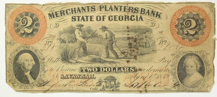 1859 Two Dollar 2 Bill Merchants & Planters Bank State of Georgia Note COLORFUL | eBay