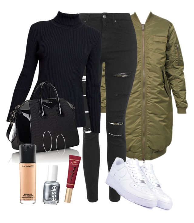 """""""XO"""" by amuramasri on Polyvore featuring 6397, Topshop, NIKE, Rumour London, Givenchy, Too Faced Cosmetics, Essie, MAC Cosmetics and Michael Kors"""
