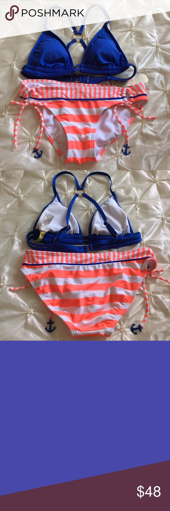 Gianni Bini Hot Pink Sailing Anchor Bikini Hot bright colors for this summer! Cute swimsuit with little anchors. Third and fourth picture are actual colors of the swimsuit.  Top is purplish blue and bottom is hot pink salmon color.  Gianni Bini Swim Bikinis