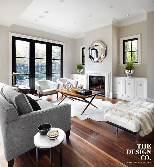 Living Room With Fireplace And Sliding Doors: Living Room, Black French Doors, White Built-ins, Custom