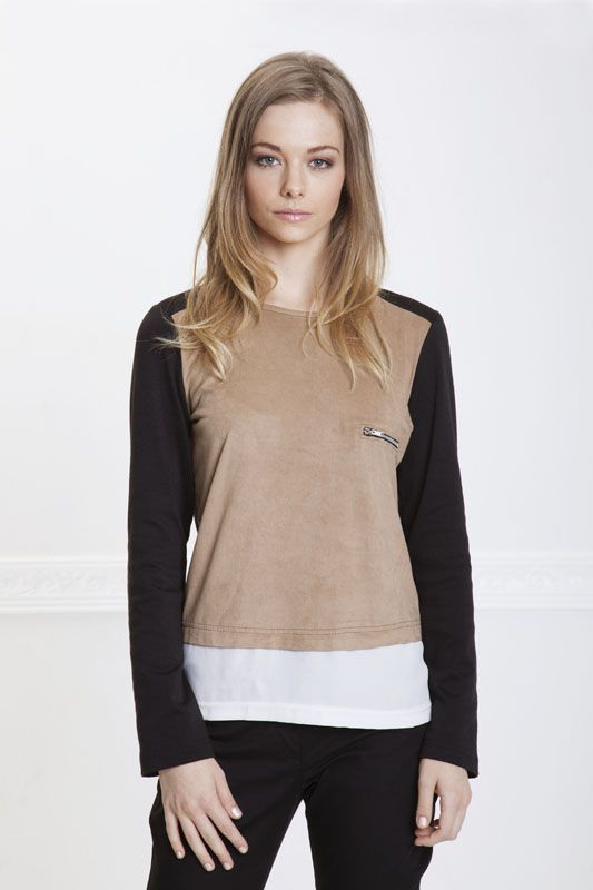 Easy chic suede front Brittany blouse.  This easy wearing top can be worn day to night.  Available in sizes 30-40 R590 Email: melissa@hermannarush.com